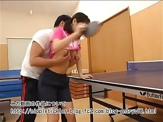 Table tennis pulsation girl who is firstyear member forced by the brush reply to crammer at summer camp :