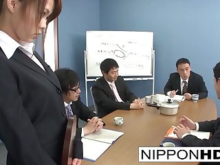Sexy Asian office girl blows her coworkers