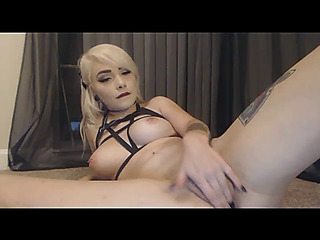 Excited glamorous goldenhaired toys booty and hallow tunnel so unending adhere to show