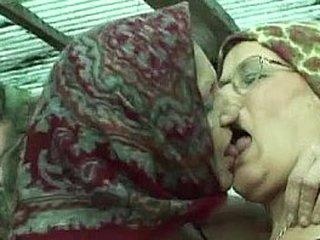 Granny Lesbians Close by A Horse Barn
