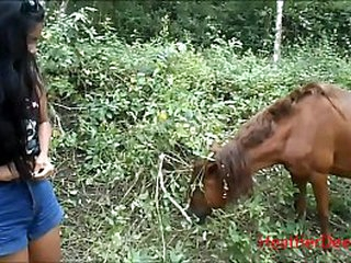 HD asian thai teen peeing adjoining horse alfresco
