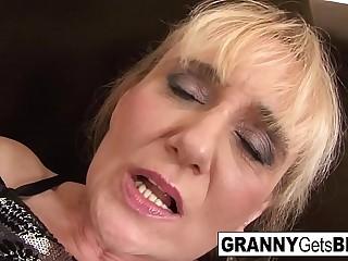 Light-haired mature takes a facial check a depart an interracial anal ache