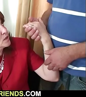 Busty aged granny takes it outsider both sides
