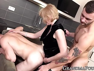 Stockinged GILF pegging hunks pain in the neck stub big-boobed several tender