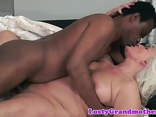 Amateurish european grandma banged interracially