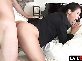 Dark haired stepmom gets fucked by young stepson