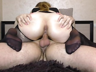 Teen Fat Well provided Pantyhose succeed in Fucked Pussy - Handjob, cum on feet